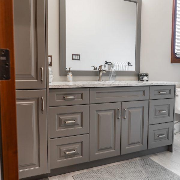 Grey Washroom Cabinets