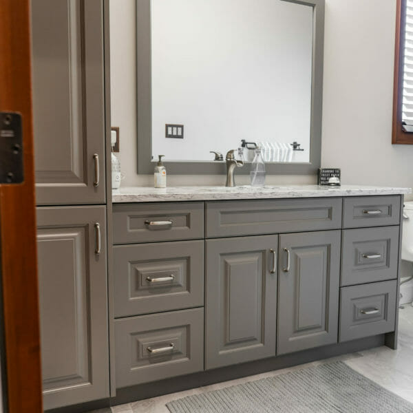 Grey Washroom Cabinets